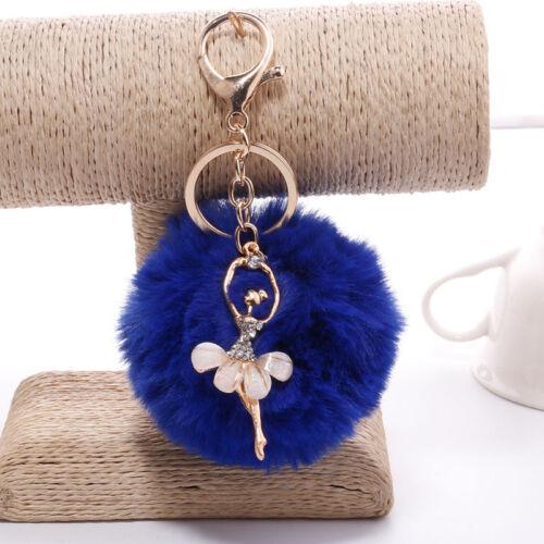 Comfy Soft Fuzzy Ball Faux Rabbit Fur Keychain Keyring Bag Ballet Girl Pendants