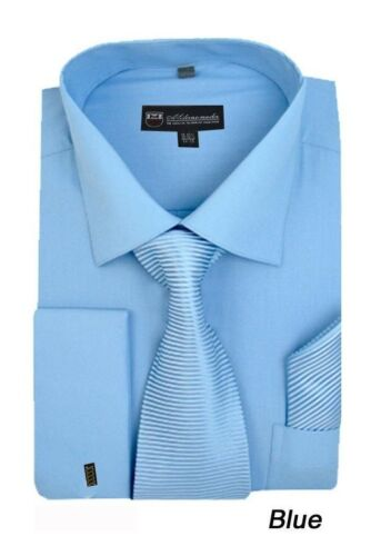 Men/'s French Cuff Solid Dress Shirt w// Matching Tie and Hanky Set #27