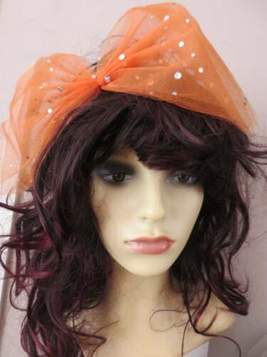 Large Hair Bow 80s Fancy Dress Hair Bow lace//sequin Sequin Bow Orange Lace Bow