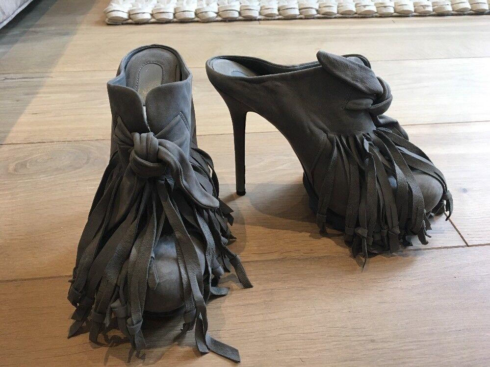 CAMILLA SKOVGAARD Grey Suede Leather High Heel Mule Fringe Saw EU 39 UK 6.5