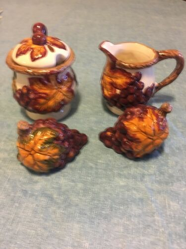Fall Harvest Grapes Leaves Salt Pepper Shaker Creamer Sugar Coffee Set Ceramic