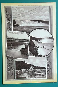 NIAGARA-FALLS-Belleni-Jumping-amp-Crossing-on-Tight-Rope-1892-Antique-Lithograph