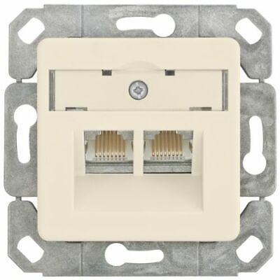 Herzhaft Anschlussdose, Kombi Amj45-8/8, Cat-6 Mit Zentralplatte 50 X 50 Mm, Klein Lx® We
