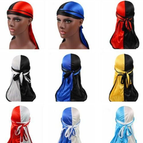 Fashion Solid Women Men Silky Durag Head Wrap Cap Summer Bandannas Rag Hat