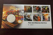 GB QEII FDC PNC B/UNC. 2009 FIRE & RESCUE SERVICES COVER AND COIN/MEDAL