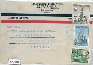 RED CROSS: POSTAL HISTORY : COLOMBIA - AIRMAIL COVER to YUGOSLAVIA 1954