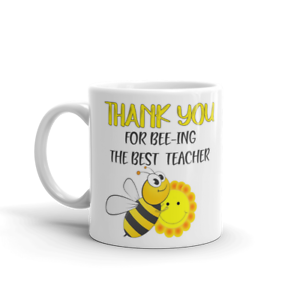 Thank you Teacher Mug Cup Gift End of term school class Personalised Rainbow