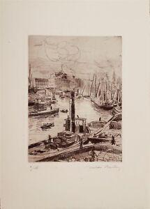 Valdo-Louis-Barbey-gravure-originale-signee-Port-de-Bilbao-Espagne-Suisse