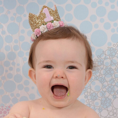 Cute 1st Birthday Party Flower Crown 1 /& 2Year Tiara Princess Baby Girl Hairband