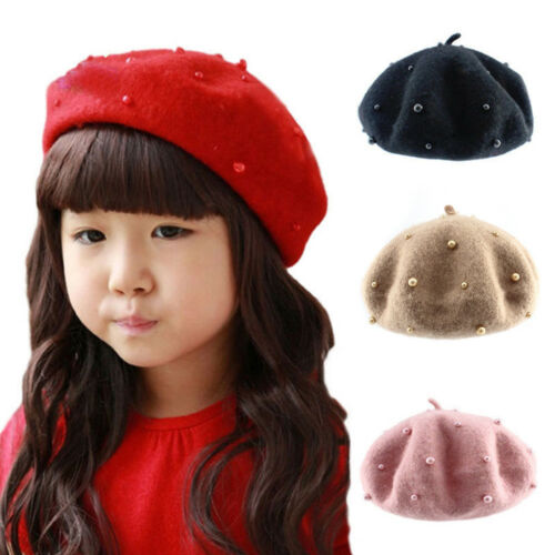 Wool Baby Kids Girls Hats with Pearls CandysColor Retro Berets Cap for 3-8 Years