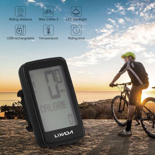 USB Rechargeable Wireless Bike Cadence Computer Speedometer Odometer K7U4