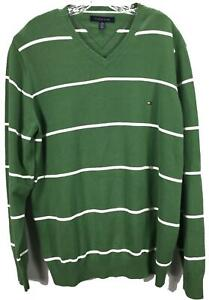 Tommy-Hilfiger-Homme-Coton-Manches-Longues-Col-V-Solide-Vert-Pull-Taille-XXL