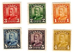 Canada Stamps Scott #149-154, 1c to 8c, King George V, MH, SCV$88