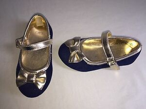 NEW GYMBOREE GIRLS SHOES 5C NAVY BLUE GOLD TRIM BOW ACCENT HOLIDAY