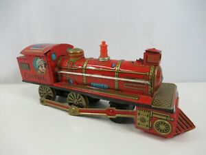 SAN-Tin-Litho-Friction-Locomotive-Central-No-2357-Red-Japan-Vintage-Marusan