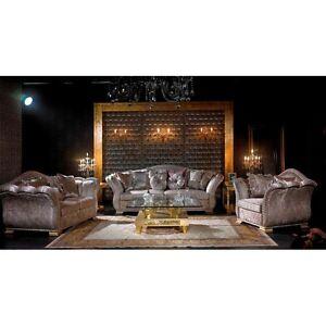 Exklusive Luxus Couchgarnitur Grau Silber 3 2 1 Sofa Set