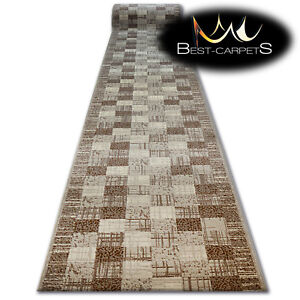 Modern Hall Carpet Runner Bcf Base Beige Squares Stairs 60
