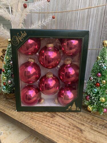 "Box//8 Christmas By Krebs Glass Christmas Ornaments 2-5//8"" Pink Malaga Shine"