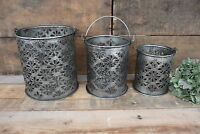 Metal Buckets Pails Diecut Daisy Flower Design 3 Sizes Industrial Rustic