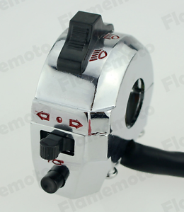 Motorcycle-7-8-034-High-Low-Beam-Turn-Signal-Horn-Left-Switch-Aluminum-Chrome