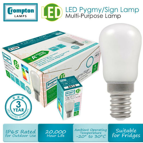 E14 V Warm white sign light bulb SES Crompton 1.3w LED energy saving pygmy