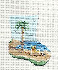 Needle Crossings Christmas Palm Tree Stocking handpainted Needlepoint Canvas