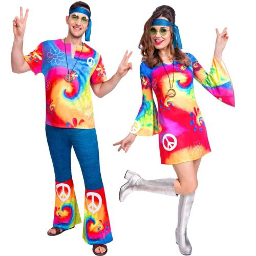 Adult/'s Women/'s Men/'s 70/'s 60s Tie Dye Hippy Hippie Couples Fancy Dress Costume