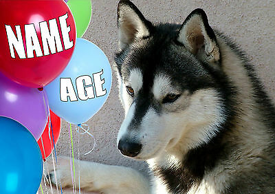 PERSONALISED HUSKY DOG BIRTHDAY CHRISTMAS ANY OCCASION CARD Illustrated Insert