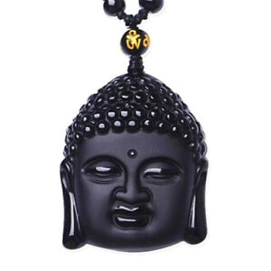 Natural-Black-Obsidian-Hand-Carved-Lucky-Buddha-Amulet-Pendant-Beads-Necklace
