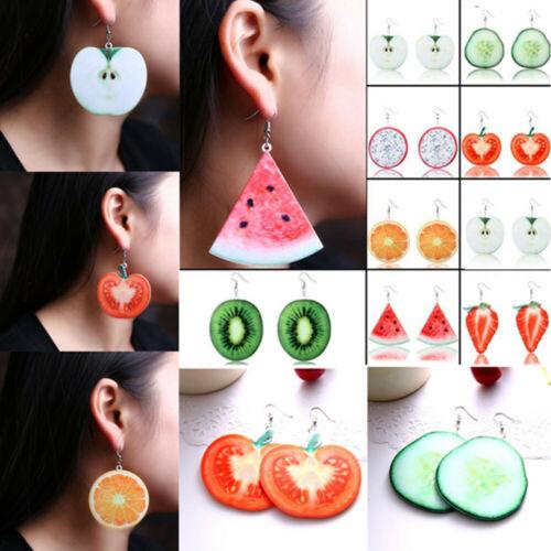 Mujeres Cereza Limón Fruta Verduras Oreja Pasador Colgante Colgantes Pendientes de la joyería