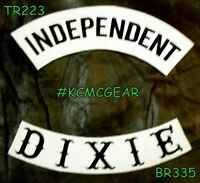 Independent Dixie Black On White Back Military Patches Set Biker Vest Jacket