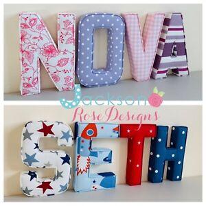 In-tessuto-imbottito-lettere-Wall-Art-fatto-a-mano-Nursery-Nome-Personalizzato-Ragazza-Ragazzo