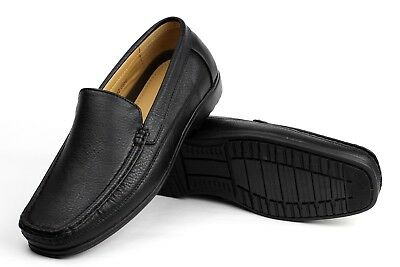 new mens smart black designer slip on driving loafers