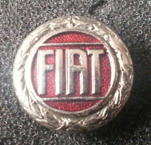 Fiat Brosche silbern rot lackiert 15mm gestempelt Lorioli Milano