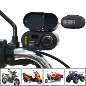 12/24V Motorcycle Cigarette Lighter Socket +Dual USB Charger Power Ports +Switch 4362252654537