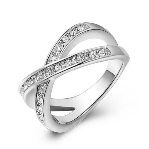 Damen Ring Damenring 18 Karat vergoldet Zirkonia Kristall Kreuzform X-Cross