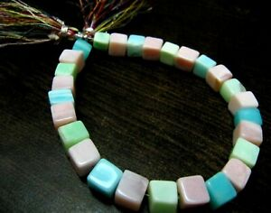 size 8 to 10mm Beads Strand 8 inch Long. Natural Pink Opal cube box Faceted