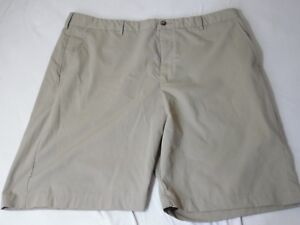 Greg-Norman-Golf-Shorts-Polyester-Flat-Front-Size-40-Khaki-Tan-9-5-034-Inseam-EUC