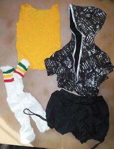 NWOT-Dance-costume-Jacket-tank-bloomer-shorts-socks-Medium-child-glittered