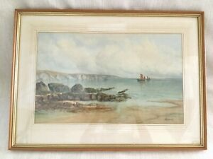Antique-Original-Watercolour-Painting-Seaside-Beach-Sailing-Boat-Signed-Framed