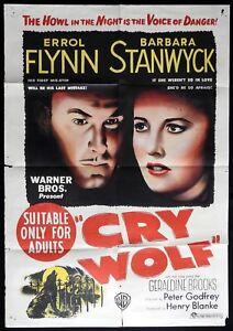 CRY-WOLF-Original-One-sheet-Movie-Poster-ERROL-FLYNN-Barbara-Stanwyck