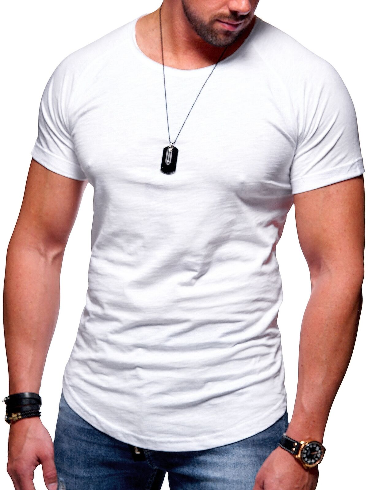 Behype Herren Oversize T-Shirt Oval Longshirt Longtee Longline Clubwear NEU
