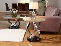 Jupiter Lamp Table In Replica Marble, Black Gloss Base, Chrome Plated Frame