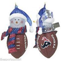 Houston Texans Snowman Football Ornament