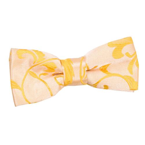 DQT Woven Floral Gold Kids Child Communion Page Boys Pre-Tied Bow Tie