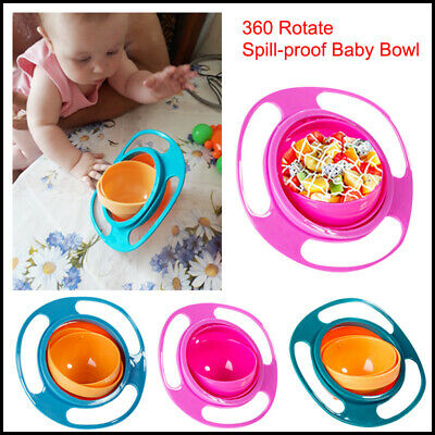 NEW Baby Kids Infant Feeding Dishes Gyro Bowl 360° Rotate Spill-Proof SHIPS FREE