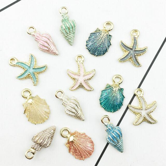 cdf969eaa95 13 Pcs Conch Sea Shell Pendant DIY Charms Jewelry Making Handmade Multi  Color