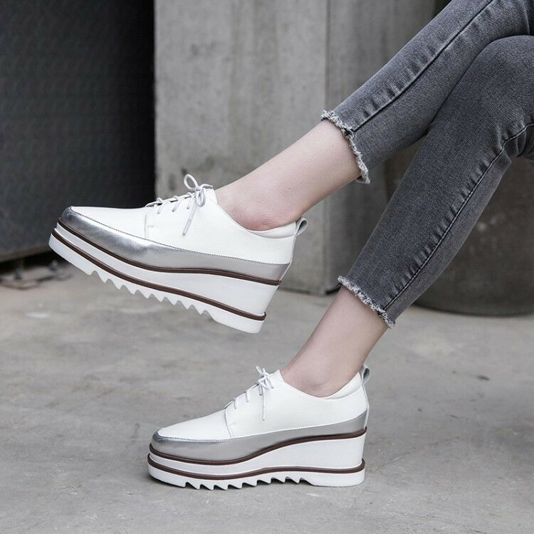 mujer 2019 Spring New Fashion Europe Europe Europe Style Retro Lace Up Platform zapatos Leather  mejor marca