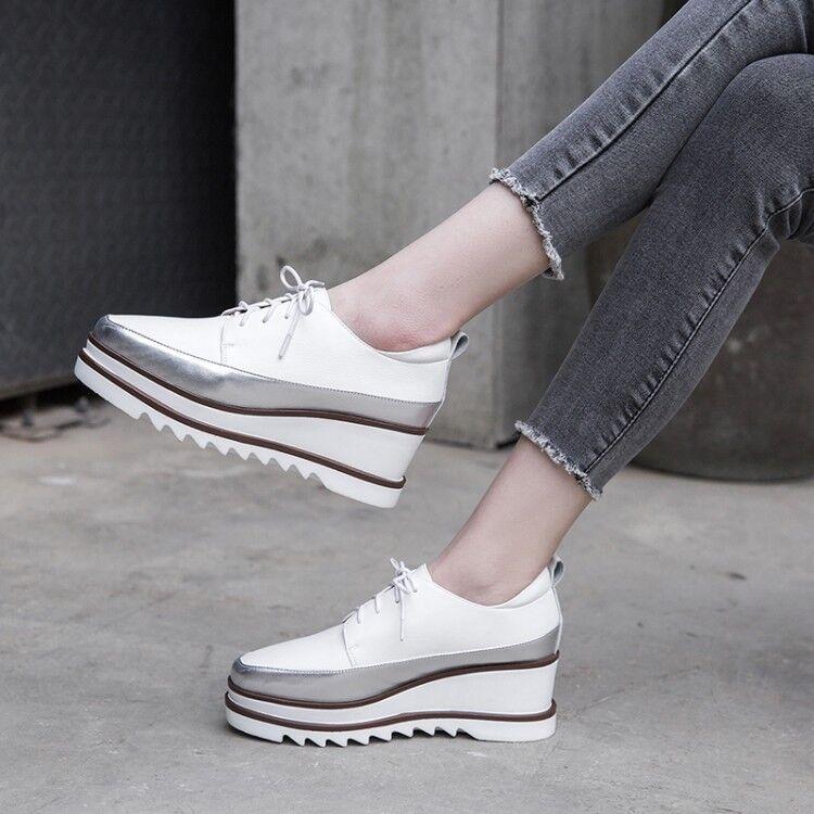 mujer 2019 Spring New Fashion Europe Europe Europe Style Retro Lace Up Platform zapatos Leather  Nuevos productos de artículos novedosos.