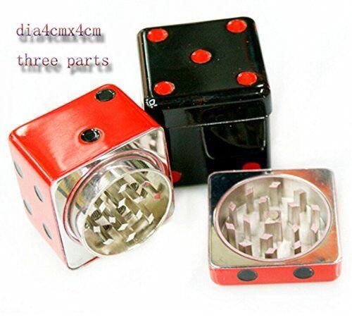 Dice Chromium Metal Crusher 3 Layers Tobacco//Spice//Herb//Tea Grinder Random color